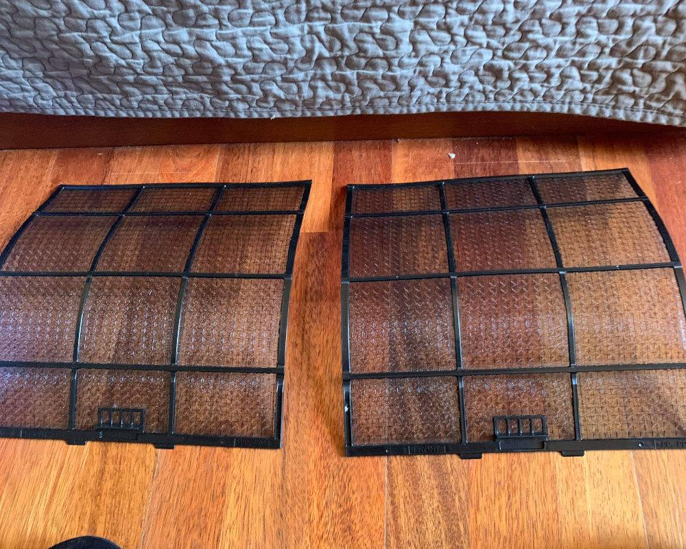 Filtres climatisation après nettoyage
